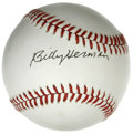 Autographs:Baseballs, Billy Herman Single Signed Baseball. Billy Herman enjoyed severalgood years for the Chicago Cubs, establishing himself as ...