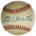 Autographs:Baseballs, Eddie Mathews Single Signed Baseball. Eddie Mathews has applied abooming signature across the sweet spot of the cream-tint...