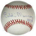 Autographs:Baseballs, Eddie Murray Single Signed Baseball. Tremendous sweet spotsignature here comes from 500 Home Run Club hero Eddie Murray. ...