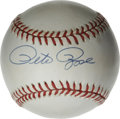 Autographs:Baseballs, Pete Rose Single Signed Baseball. A clean ONL (White) baseballprovides the perfect canvas for Hit King Pete Rose's sweet s...