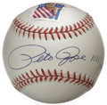 Autographs:Baseballs, Pete Rose Single Signed Baseball. Unique memento that we offer hereputs Hit King Pete Rose's coveted signature on the swee...
