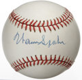 Autographs:Baseballs, Warren Spahn Single Signed Baseball. The lefty hurler who became asymbol for longevity with his astounding 21-year career....