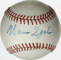 Autographs:Baseballs, Warren Spahn Single Signed Baseball. The long-time Brave leftyWarren Spahn earned Hall of Fame induction with his tireless...