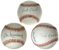 Autographs:Baseballs, Negro League Stars Single Signed Baseballs Lot of 3. Known for itsexciting fast-paced play and emphasis on daring baserunn...