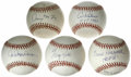 Autographs:Baseballs, Detroit Tigers Stars Single Signed Baseballs Lot of 5. All five ofthe fine orbs that we offer here has been signed by a me...