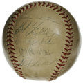 Autographs:Baseballs, 1948 Cleveland Indians World Champion Team Signed Baseball. Thestar-studded Cleveland Indians of 1948 tore through the maj...