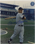 Autographs:Photos, Mickey Mantle Signed Photograph. The Mick is shown here as he takespractice swings at the old Comiskey Park before his Yan...