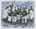 """Autographs:Photos, """"Shot Heard 'Round the World"""" 1951 New York Giants Team SignedPhotograph. Taken as Bobby Thomson crossed home plate after ..."""