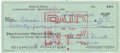 Autographs:Checks, 1970 Ford Frick Double-Signed Personal Check. Hall of Fame memberFord Frick spent several years involved in baseball, serv...