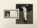 Autographs:Others, 1986 Joe DiMaggio Signed First Day Cover Display. This tremendousdisplay juxtaposes an image of the Yankee Clipper as we k...