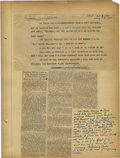 Autographs:Others, 1934 Babe Ruth Signed Statement Announcing End of Yankees Career. It was just over a year ago that the contract transferrin...
