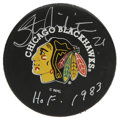 Hockey Collectibles:Others, Stan Mikita Signed Hockey Puck. Stan Mikita, the center who owned the NHL throughout the 1960s, has applied a fantastic sil...