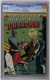 """Adventures Into The Unknown #20 Davis Crippen (""""D"""" Copy) pedigree (ACG, 1951) CGC VF 8.0 Off-white pages. Ogde..."""