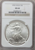 Modern Bullion Coins: , 1996 $1 Silver Eagle MS68 NGC. NGC Census: (1260/77374). PCGSPopulation (2382/3854). Mintage: 3,603,386. Numismedia Wsl. P...