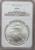 Modern Bullion Coins: , 1996 $1 Silver Eagle MS68 NGC. NGC Census: (1261/77414). PCGSPopulation (2382/3854). Mintage: 3,603,386. Numismedia Wsl. P...