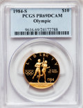 Modern Issues: , 1984-S G$10 Olympic Gold Ten Dollar PR69 Deep Cameo PCGS. PCGSPopulation (2106/118). NGC Census: (23/0). Mintage: 48,551. ...