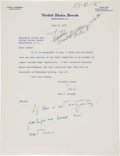 "Autographs:U.S. Presidents, John F. Kennedy Typed Letter Signed ""Jack"" as a senator withhandwritten note...."
