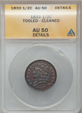 1833 1/2 C -- Cleaned, Tooled -- ANACS. AU50 Details. NGC Census: (8/364). PCGS Population (38/357). Mintage: 120,000. N...