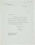 "Autographs:U.S. Presidents, Harry Truman Typed Letter Signed ""Harry"" as president...."