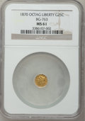 California Fractional Gold: , 1870 25C Liberty Octagonal 25 Cents, BG-763, Low R.4, MS61 NGC. NGCCensus: (2/14). PCGS Population (15/56). (#10590)...