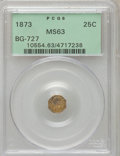 California Fractional Gold: , 1873 25C Liberty Octagonal 25 Cents, BG-727, High R.4, MS63 PCGS.PCGS Population (9/37). NGC Census: (1/11). (#10554)...