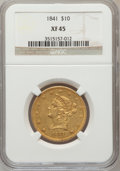 Liberty Eagles: , 1841 $10 XF45 NGC. NGC Census: (39/109). PCGS Population (31/51).Mintage: 63,131. Numismedia Wsl. Price for problem free N...
