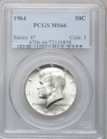 Kennedy Half Dollars: , 1964 50C MS66 PCGS. PCGS Population (916/31). NGC Census:(419/1023). Mintage: 273,300,000. Numismedia Wsl. Price forprobl...
