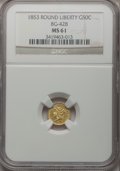 California Fractional Gold: , 1853 50C Liberty Round 50 Cents, BG-428, R.3, MS61 NGC. NGC Census:(13/23). PCGS Population (30/112). (#10464)...