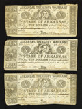 Obsoletes By State:Arkansas, (Little Rock), AR- Arkansas Treasury Warrant $10 1862-64 Cr. 54C Three Examples. ... (Total: 3 notes)