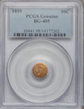 California Fractional Gold, 1855 50C Liberty Round 50 Cents, BG-405, R.5, Genuine PCGS. ThePCGS number ending in .98 suggests damage as the reason, or...