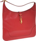 Luxury Accessories:Bags, Hermes 35cm Rouge Vif Buffalo Leather Trim Bag with Gold Hardware.... (Total: 2 Items)