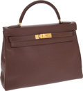 Luxury Accessories:Bags, Hermes 32cm Chocolate Epsom Leather Retourne Kelly Bag with GoldHardware. ...