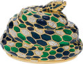 Luxury Accessories:Bags, Judith Leiber Full Bead Blue, Green, & Silver Snake CrystalMinaudiere Evening Bag. ... (Total: 2 Items)