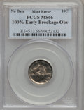 Errors, No Date 10C Roosevelt Dime -- 100% Early Brockage Obverse -- MS66 PCGS....