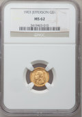 Commemorative Gold: , 1903 G$1 Louisiana Purchase/Jefferson MS62 NGC. NGC Census:(178/1774). PCGS Population (221/2756). Mintage: 17,500. Numism...
