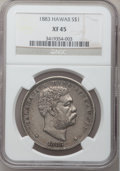 Coins of Hawaii: , 1883 $1 Hawaii Dollar XF45 NGC. NGC Census: (50/179). PCGSPopulation (140/251). Mintage: 500,000. (#10995)...