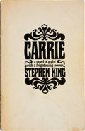 Books:Horror & Supernatural, Stephen King. Carrie. Garden City, New York: Doubleday &Company, Inc., 1974. . Advance proof of the first edi...