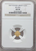 California Fractional Gold: , 1869 25C Liberty Round 25 Cents, BG-826, R.4, AU58 NGC. NGC Census:(1/1). PCGS Population (11/49). (#10687)...