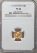 Commemorative Gold: , 1903 G$1 Louisiana Purchase/Jefferson AU58 NGC. NGC Census:(84/2003). PCGS Population (95/3040). Mintage: 17,500. Numismed...