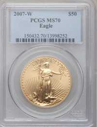 2007-W $50 One-Ounce Gold Eagle MS70 PCGS. PCGS Population (193). NGC Census: (0). Numismedia Wsl. Price for problem fre...