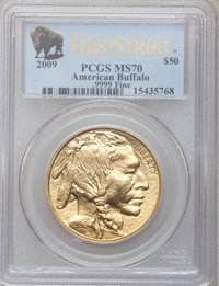 2009 G$50 One-Ounce Gold Buffalo, First Strike MS70 PCGS. .9999 Fine. PCGS Population (10680). NGC Census: (0). (#413935...