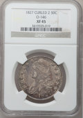 Bust Half Dollars: , 1827 50C Curl Base 2 XF45 NGC. O-146. NGC Census: (0/0). PCGSPopulation (16/60). (#6145)...