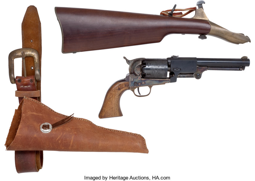 Reproduction Colt Dragoon Revolver with Holster and Shoulder | Lot