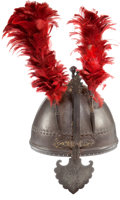 Antiques:Antiquities, Indo-Persian Helmet with Stand.... (Total: 2 Items)