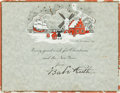 "Autographs:Others, Circa 1927 ""Babe"" Ruth Signed Christmas Card...."