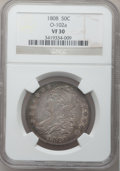 Bust Half Dollars: , 1808 50C VF30 NGC. O-102a. NGC Census: (19/362). PCGS Population(30/433). Mintage: 1,368,600. Numismedia Wsl. Price for p...