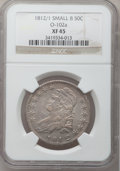 Bust Half Dollars: , 1812/1 50C Small 8 XF45 NGC. O-102a. NGC Census: (15/52). PCGSPopulation (19/63). Numismedia Wsl. Price for problem free...