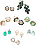 Estate Jewelry:Lots, Multi-Stone, Cultured Pearl, Gold Earrings and Earring Jackets. ...