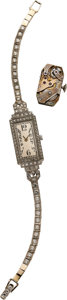 Estate Jewelry:Watches, Art Deco Lady's Diamond, Platinum, White Gold Wristwatch. ...