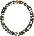 Estate Jewelry:Pearls, South Sea Cultured Pearl, Diamond, Gold Necklace. ...